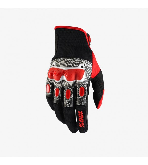 100% Gloves Derestricted Black-White-Red
