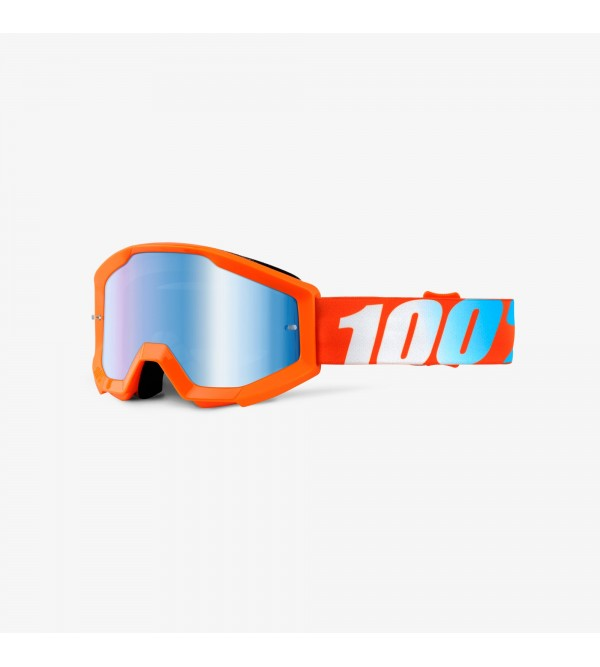 100% Youth Goggles STRATA Orange-Lens Mirror Blue