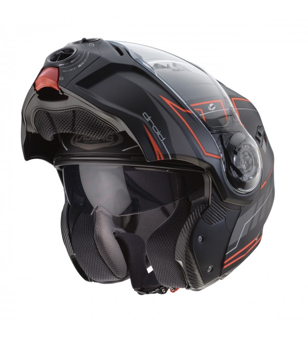CABERG Helmet DROID BLAZE MATT BLACK/RED FLUO