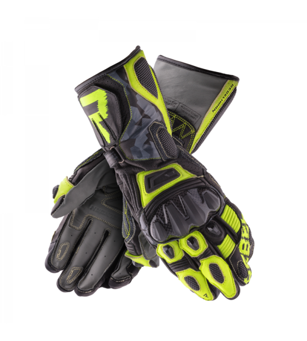 Rebelhorn Rebel Black/Camo/Flo Yellow Leather Motorcycle Gloves