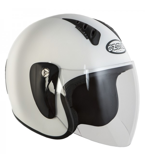 Ozone Hy-818 White Motorcycle Open Face Helmet