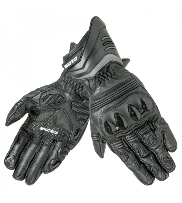 Ozone Drop Evo CE Black Motorcycle Leather Gloves