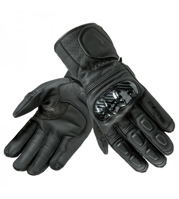 Ozone Ride II CE Black Leather Motorcycle Gloves