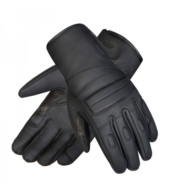 Ozone Rookie CE Black Leather Motorcycle Gloves