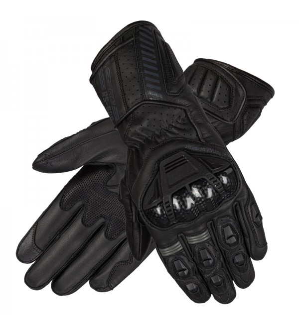 Ozone Rs600 Black/Grey Leather Motorcycle Gloves
