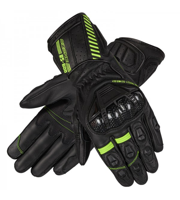 Ozone Rs600 Black/Flo Yellow Leather Motorcycle Gl...
