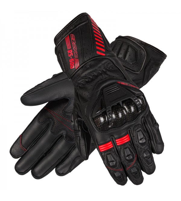 Ozone Rs600 Black/Flo Red Leather Motorcycle Glove...