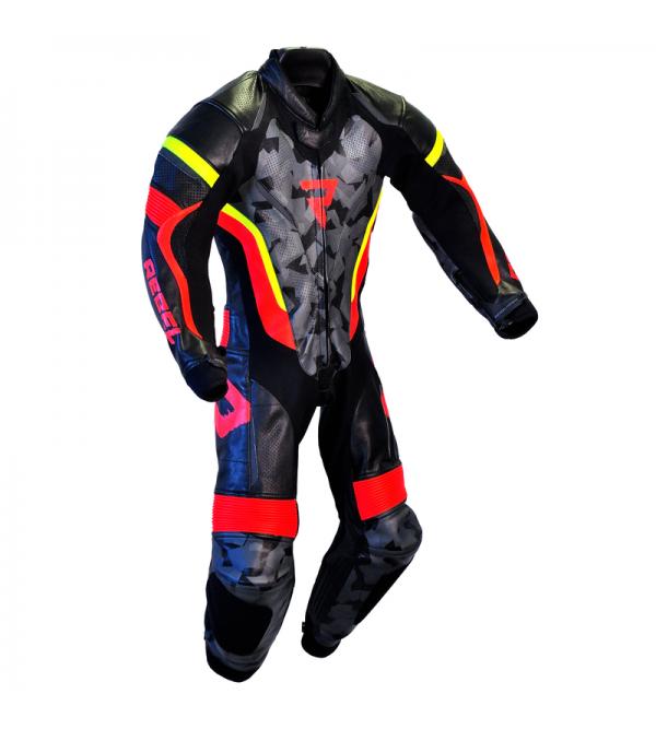 Leather Suit 1Pcs Rebelhorn Rebel Junior Black/Flo...