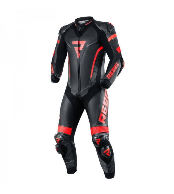 Leather Suit 1Pcs Rebelhorn Rebel Black/Flo Red