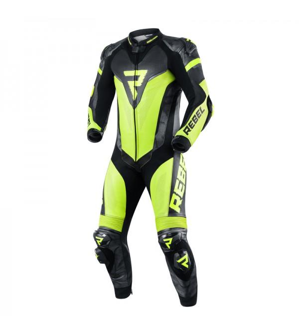 Leather Suit 1Pcs Rebelhorn Rebel Black/Flo Yellow