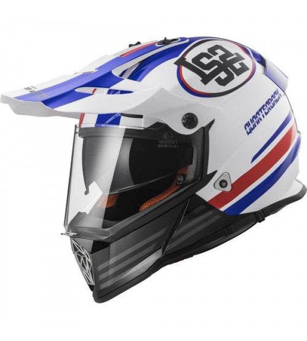 LS2 helmet MX436 PIONEER QUARTERBACK White Red Blu...